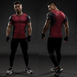 deadpool costumes for NZ - Deadpool Short Sleeve T shirts Men Compression Shirt 2017 New Cosplay Costume Crossfit Tops For Male Fitness Clothing