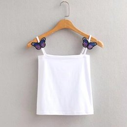 Wholesale Women high quality Sexy butterfly Tube Crop Tops Bling Camis Sexy bow tie tank vests Crop Tops camisoles tanks clothes women
