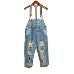 China Wholesale-Men's fashion hole ripped denim bib overalls Male casual water washed blue crop jeans Jumpsuits Shorts Free shipping supplier light denim short overalls suppliers