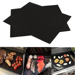 heat pad electric NZ - New 33*40cm BBQ Grill Mat Non-Stick Reusable BBQ Cover Cooking Baking Microwave Mats Resuable Barbecue Sheet Pad Heat Resistance Grill Mat
