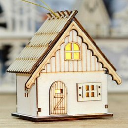 high end christmas ornaments UK - Christmas ornaments creative luminous cabin holiday gift high-end LED lights pendant wood color night light decorations