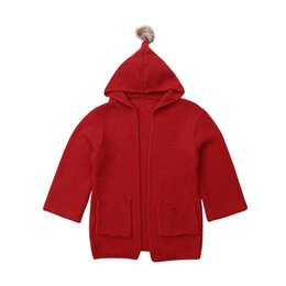 baby girls red cardigan 2019 - Baby Girls Long Sleeve Long Coat Outwear Sweater Knit Winter Warm Cardigan Hooded Kid Tops Clothes cheap baby girls red