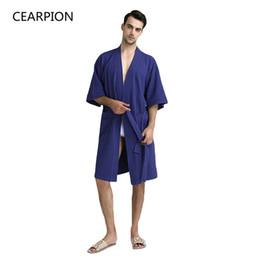 f60a8097a9 CEARPION Loose Cotton Summer Sleepwear Men Casual Kimono Bathrobe Gown Half  Sleeve Nightgown Home Clothes Male Soft Nightwear