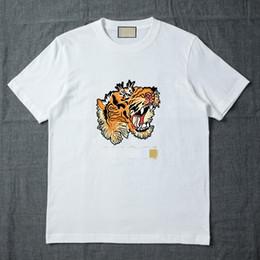 China 2018 Summer Designer T Shirts For Men Tops Tiger Head Letter printing T Shirt Mens Clothing Brand Short Sleeve Tshirt Women Tops S-3XL supplier tiger print t shirts for women suppliers