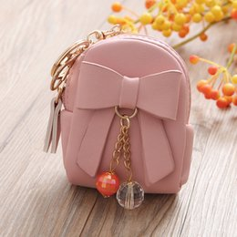 Wholesale Lady Key Bag Mini Bag Bow Pendant Square PU Zipper Coin Purse Small Wallet Girls Purses Kids Handbags Zip Pouch