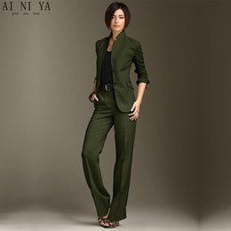 $enCountryForm.capitalKeyWord Australia - Jacket Pants Dark Green Women Business Suits Chinese Collar Formal Ladies Pant Suits Office Uniform Style Female Trouser Suit
