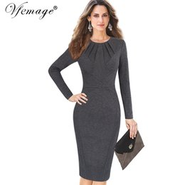Vfemage Womens Autumn Winter Elegant Pleated Neck Patchwork Casual Work  Business Office Party Cocktail Bodycon Sheath Dress 8428 Y1891107 6a1d98ef2907