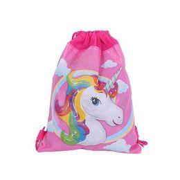 Unicorn Non-woven bundle pockets study storage bag Drawstring Kids Backpack  Girls Boys Pouch Gift Bags Children Travel Storage Schoolbag 747bf960353de