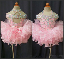 Cupcakes Pink Australia - New Toddler Pageant Dresses Pink Organza Cupcake Kids Prom Gowns Crystal Beaded Open Back With Bow Formal Little Girls Birthday Party Dress