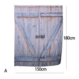 Chinese  American Country Style Polyester Shower Curtain Old Bronze Wooden Garage Door Vintage Rustic Shower Curtain Bathroom Decor Art manufacturers