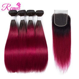 length 28 inch brazilian hair UK - Burgundy Colored Hair Brazilian Straight Bundles With Closure Ombre 1b Burgundy 2 Tone Color 4 Bundle With Lace Closure Rcmei