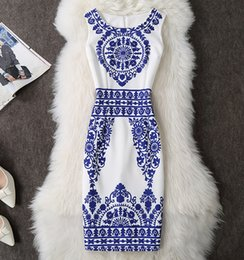 Wholesale ANGVILME New Women summer bodycon slim Dress Blue and white porcelain printing vestido young design cover hips dress