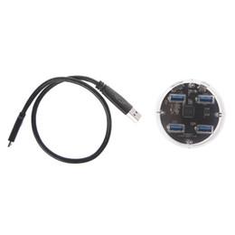 Hub transparent extérieur d'USB 3,0 de ports d'alimentation d'énergie 4 avec la protection antidérapante en caoutchouc