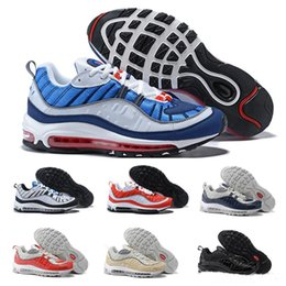 sneaker shoes uk 2018 - New White Blue Grey Yellow maxes OG 98 Gundam Jogging Running Shoes 98s Black Red Navy Fluorescent off-road athletic 201
