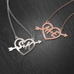 Custom Design Gifts Canada - Heart -and - arrow Rose Gold Design First Love Two Initials Charming Cutout Necklace Perfect Custom Gift to Your Someone Special