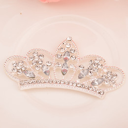 $enCountryForm.capitalKeyWord NZ - Clear Rhinestone Tiara Crown Embellishment Used On Headband or Craft Flat Back 20PCS lot Silver Color 54MM*28MM