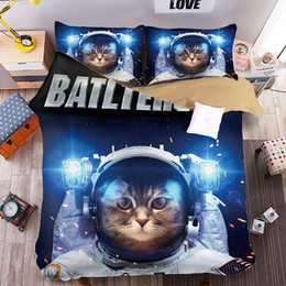 Cat King Size Duvet Covers Canada - Top Quality Galaxy Space Cat Printing Bedding Set Twin Full Queen King Size Fabric Cotton Duvet Covers Pillow Shams 3PC Animal Fashion