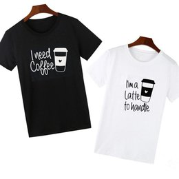 621557a2 Pkorli Men Women Funny T Shirt For Lovers I Need Coffce Letters Printed  Couple T-Shirt Cotton Short Sleeve Graphic Tees Tops
