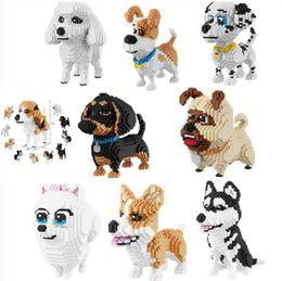 Discount dogs toy poodle - balody Cartoon Dog Mini Diamond Building Block Poodle Dachshund Corgi Husky Pug Model Brick Toy For Kids