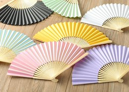 Multi Color Hand Bag Australia - Paper fan Free shipping personalized printing text on wedding silk hand fans with organza gift bag nice gift 16 color