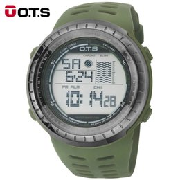 Men Digital Wrist Watches Canada - New OTS 7025G Men Waterproof Sports Army Green Silicone Strap Luminous Digital Wrist Watches Relogio Masculino 2016 fashion