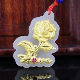 beautiful white roses 2019 - Natural White Hetian Jade Necklace Pendant rose Beautiful Box Bag Certified For Men Women High Quality discount beautifu