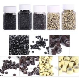 5 mm anillo micro beads 1000 unids / botella Pluma del pelo Micro Ring Beads Enlaces tubos con mezcla forrada de silicona para extensiones de pelo herramientas de peinado en venta