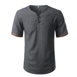 b6f21b4681a Cotton Linen Shirt Men Brand Short Sleeve Mens Henley Shirt Casual Slim Fit  Plaid Mens Dress Shirt 3 Buttons Chemise Homme