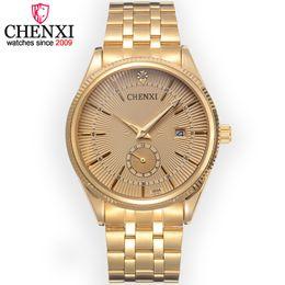 $enCountryForm.capitalKeyWord UK - CHENXI Brand Calendar Gold Quartz Watches Men Luxury Hot Selling Wristwatch Golden Clock Male Rhinestone Watch Relogio Masculino