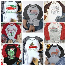 12 styles women christmas t shirt women casual letter printed long sleeve shirt autumn xmas tee maternity tops cca10112 30pcs - Christmas Maternity Shirts