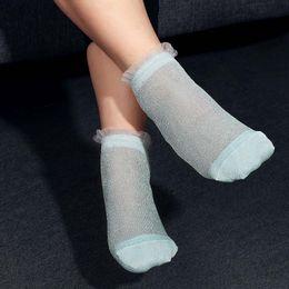 c5cb9225d22 1 Pair New Fashion Women Girls Ultrathin Transparent Colorful Glitter  Crystal Silk Lace Elastic Short Ankle Socks