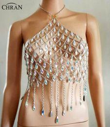 $enCountryForm.capitalKeyWord NZ - Chran AB Irridescent Gem Bead Crop Top Chainmail Bra Halter Necklace Pendant Burning Man Body Lingerie EDC Outfit Jewelry CRG104