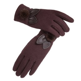 a98fbec66e8 New Fashion Women Bowknot Warm Gloves Luxury Brand Wool Touch Screen Mittens  Top Quality Female Decor Fur Ball Winter Gloves Pop Lady Gloves