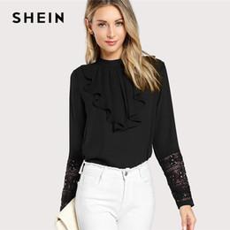 e6368af7bc SHEIN Black Streetwear Elegant Office Lady Minimalist Flounce Neck Lace Cuff  Ruffle Solid Blouse Autumn Women Workwear Shirt Top Y1891302