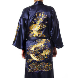 TradiTional gown sleeves online shopping - Traditional Embroidery Dragon Kimono Yukata Bath Gown Navy Blue Chinese Men Silk Satin Robe Casual Male Home Wear Nightgown