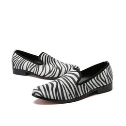 Zebra shoes styles online shopping - Italy New Style Horsehair Zebra striped Men Loafers Handmade Prom And Party Shoes Men Plus Size Slip On Casual Flats
