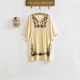Vintage Mexican Embroidered Dress Australia - New 2018 Spring Summer Vintage 70s Mexican Ethnic Floral EMBROIDERED Hippie Blouse DRESS Women Clothing Vestidos S M L Plus Size
