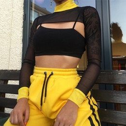 Black See Through Tee Australia - Women Short Mesh Top Ladies Long Sleeve See Through Mesh Fishnet Cropped Top Turtleneck Tee Shirt Sheer Black