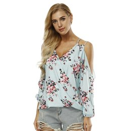 Wholesale blouse cut out sleeves online – V Cut Neck Floral Top Summer V Neck Long Sleeve Print Blouse Women White Casual Cut Out Floral Blouse