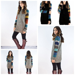 f83ccf5703097 Women Causal Plaid Slim Patchwork Long Sleeve T-Shirt Blouse Pullover Tops  Striped Warm Embrace Scoop Neck Tunic Tops 30pcs OOA4365