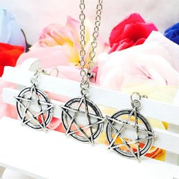 $enCountryForm.capitalKeyWord NZ - Hot Popular Antique Silver Five-Pointed Star Charms Pendant Necklace Earring Set Fashion Creative Women Jewelry Accessories Holiday Gift