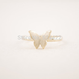 Rings min online shopping - Min pc Gold silver rose Gold color butterfly shape ring cute tiny finger rings for women JZ201