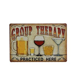 "$enCountryForm.capitalKeyWord UK - Group Therapy Practiced Here"" Vintage Metal Tin Wall Sign Plaque Poster for Cafe Bar Pub Beer"