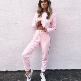 ladies leisure tracksuits Canada - New 2018 2Pcs Women Ladies Tracksuit Crop Hoodies Sweatshirt Pants Sets Leisure Wear Casual Suit