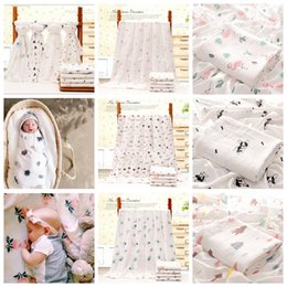 Summer Infant Bath NZ - 110*140cm Bamboo Cotton Baby Printed Blanket Muslin Swaddle Wrap Soft Newborn Blankets Bath Infant Wrap Stroller Cover Play Mat AAA817