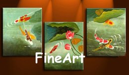 Koi Oil Paintings NZ - hand-painted oil wall art 3 pieces koi fish canvas painting modern art paintings home decoration unique gifts Kungfu Art