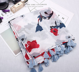 $enCountryForm.capitalKeyWord NZ - 2018 New Style of Fashion Art Style Small Fresh Women's Cotton Scarf Lijiang Style Ethnic Ink Painting Flower Pattern Printing Shawls Visor
