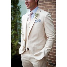 $enCountryForm.capitalKeyWord Canada - Custom Made Beige Linen Beach Wedding Suits For Men Slim Fit 3 Pieces Groom Tuxedos Prom Men Suits (Jacket+Pants+Vest)