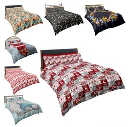 Christmas Quilts Wholesale UK - Christmas Bedding Sets Quilt Cover Pillows 3D Cartoon Printing Duvet Cover Supplies Three-piece Suit Santa Claus Printed Bedroom Bedding new