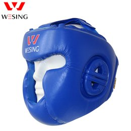 kickboxing gear Canada - Wesing Pro Style Boxing Fighting Kickboxing Head Protector Muay Thai Martial Art Head Guard Protective Head Gears Sport Helmets